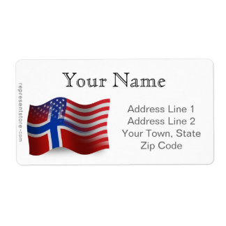 Norwegian-American Waving Flag Shipping Label