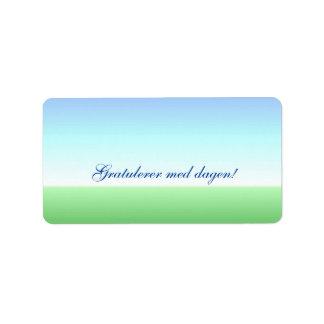 Norwegian Birthday Green Blue Label Address Label
