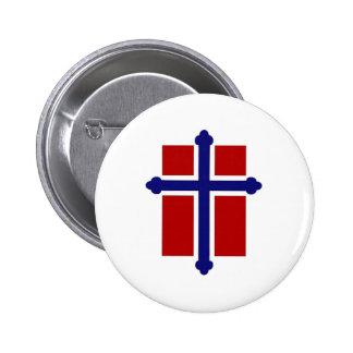 Norwegian Cross Flag 6 Cm Round Badge