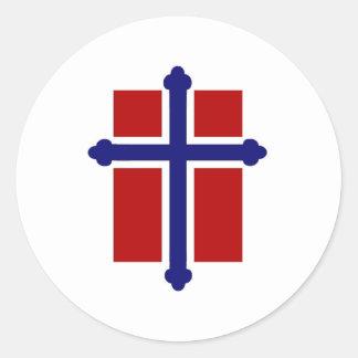 Norwegian Cross Flag Classic Round Sticker