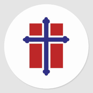 Norwegian Cross Flag Round Sticker