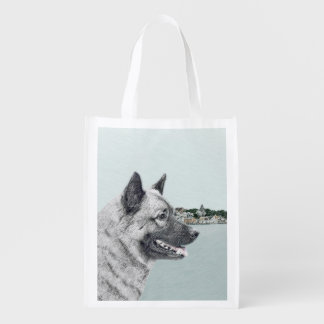 Norwegian Elkhound at Village Painting - Dog Art Reusable Grocery Bag
