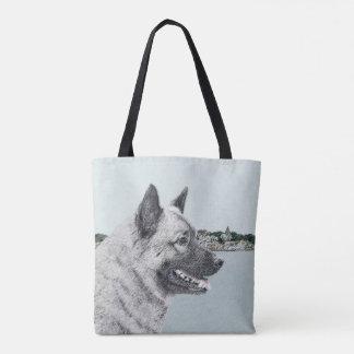 Norwegian Elkhound at Village Painting - Dog Art Tote Bag