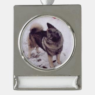 Norwegian_Elkhound_full 2 Silver Plated Banner Ornament