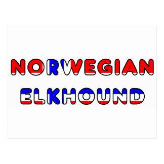 norwegian elkhound norway flag in name postcard