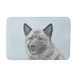 Norwegian Elkhound Painting - Original Dog Art Bath Mat