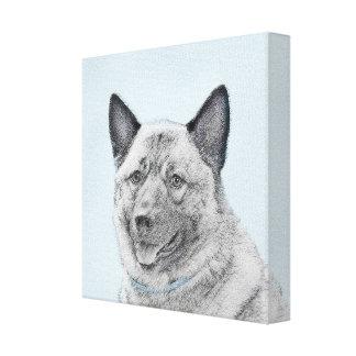 Norwegian Elkhound Painting - Original Dog Art Canvas Print