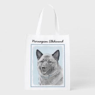 Norwegian Elkhound Painting - Original Dog Art Reusable Grocery Bag