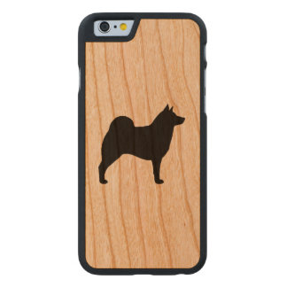 Norwegian Elkhound Silhouette Carved Cherry iPhone 6 Case