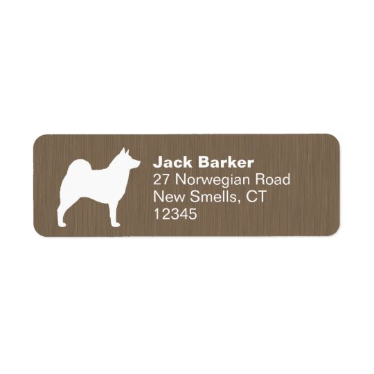 Norwegian Elkhound Silhouette Return Address Label