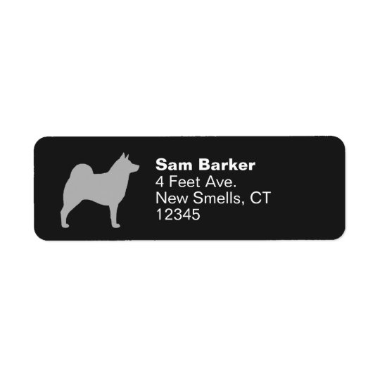 Norwegian Elkhound Silhouette Return Address Label