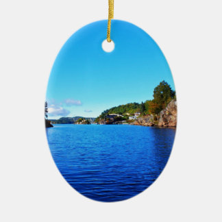 Norwegian fjords ceramic ornament