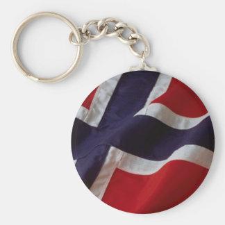 Norwegian Flag Basic Round Button Key Ring