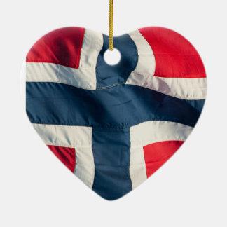 Norwegian flag ceramic heart decoration