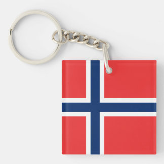 Norwegian Flag Double-Sided Square Acrylic Key Ring