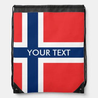 Norwegian flag drawstring bag for Norway