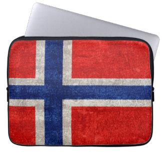 Norwegian Flag Grunge Distressed Laptop Computer Sleeves