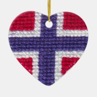 Norwegian Flag Heart Cross Stitch Nordic Norway Ch Ceramic Heart Decoration
