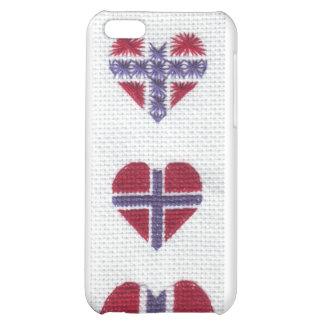 Norwegian Flag Heart Cross Stitch Nordic Norway Case For iPhone 5C