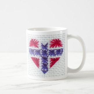 Norwegian Flag Heart Cross Stitch Nordic Norway Coffee Mugs