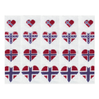 Norwegian Flag Heart Cross Stitch Nordic Norway Postcard