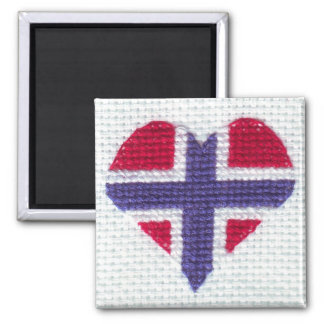 Norwegian Flag Heart Cross Stitch Nordic Norway Square Magnet