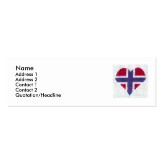 Norwegian Flag Heart Cross Stitch Nordic Norway St Business Card