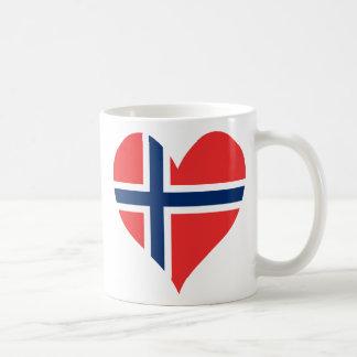 Norwegian Flag Heart Coffee Mugs