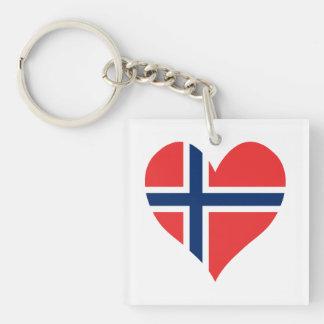 Norwegian Flag Heart Single-Sided Square Acrylic Key Ring