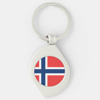 Norwegian flag Keychain Silver-Colored Swirl Key Ring