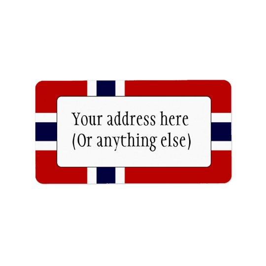 Norwegian Flag - Kongeriket Norge - Norsk Flagg Address Label