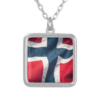 Norwegian flag square pendant necklace