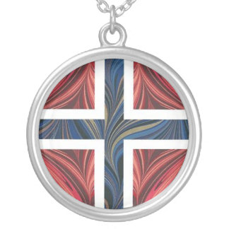 Norwegian Flag Norway Nordic Scandinavian Cross Silver Plated Necklace