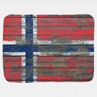 Norwegian Flag on Rough Wood Boards Effect Baby Blanket