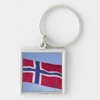 Norwegian flag RF) Silver-Colored Square Key Ring