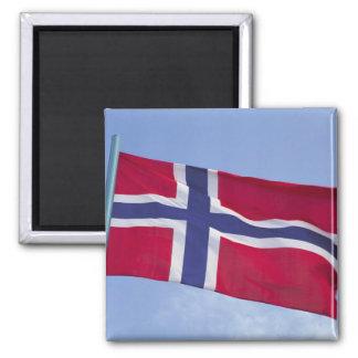 Norwegian flag RF) Square Magnet