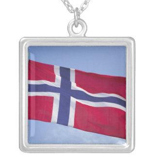 Norwegian flag RF) Square Pendant Necklace