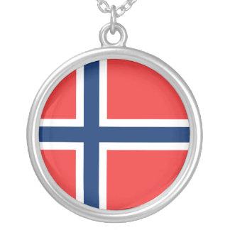 Norwegian Flag Round Pendant Necklace