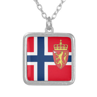 Norwegian flag silver plated necklace