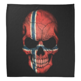 Norwegian Flag Skull on Black Kerchief