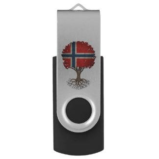 Norwegian Flag Tree of Life Customizable Swivel USB 2.0 Flash Drive