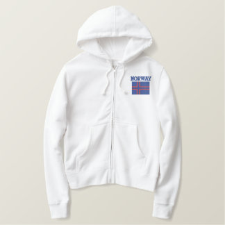 Norwegian Flag With Custom Name on Back Embroidered Hoodie
