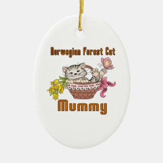 Norwegian Forest Cat Cat Mom Ceramic Ornament