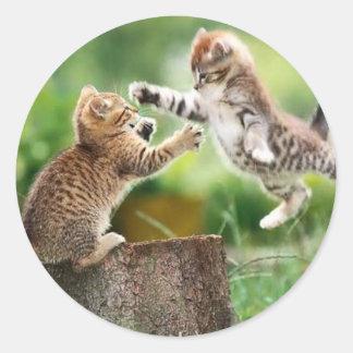 Norwegian Forest kittens Round Sticker