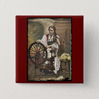 Norwegian Girl at a Spinning Wheel 15 Cm Square Badge