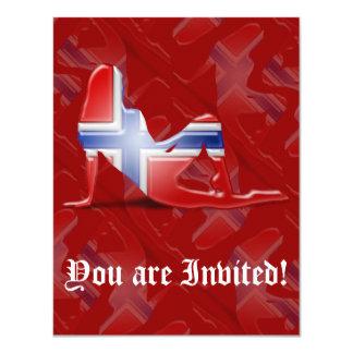 Norwegian Girl Silhouette Flag 11 Cm X 14 Cm Invitation Card