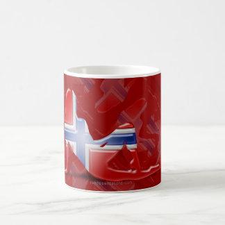 Norwegian Girl Silhouette Flag Basic White Mug