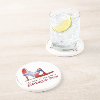 Norwegian Girl Silhouette Flag Beverage Coasters