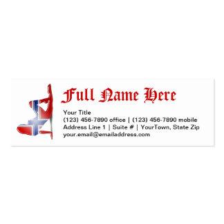 Norwegian Girl Silhouette Flag Business Card Templates