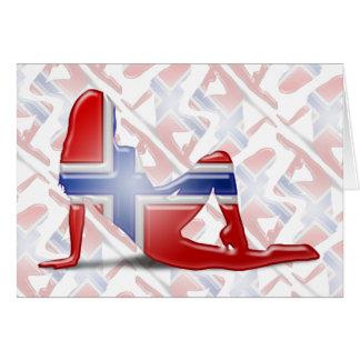 Norwegian Girl Silhouette Flag Greeting Cards